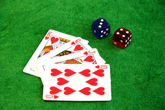 Cards and dices in casino Stock Photography