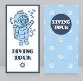 Cards for diving tour with vintage diver. Can be used as invitation to diving camp, retro style  vector illustration Royalty Free Stock Photography