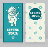 Cards for diving tour with vintage submarine. Can be used as invitation to diving camp, retro style  vector illustration Stock Images