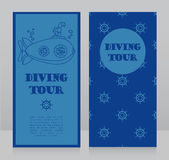 Cards for diving tour with vintage submarine. Can be used as invitation to diving camp, retro style  vector illustration Royalty Free Stock Photography