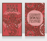 Cards for diwali festival with indian elephant and beautiful ornament. Vector illustration Stock Photos