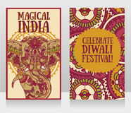 Cards for diwali festival with indian elephant and beautiful ornament. Vector illustration Stock Images