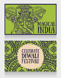 Cards for diwali festival with indian elephant and beautiful ornament. Vector illustration Stock Photo