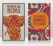 Cards for diwali festival with indian elephant and beautiful ornament. Vector illustration Stock Photography