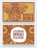 Cards for diwali festival with indian elephant and beautiful ornament. Vector illustration Royalty Free Stock Photos