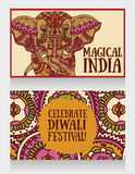 Cards for diwali festival with indian elephant and beautiful ornament. Vector illustration Royalty Free Stock Photo