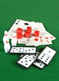 Cards and domino Royalty Free Stock Photos