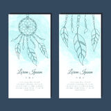 Cards with dreamcatcher and feathers. Royalty Free Stock Photo