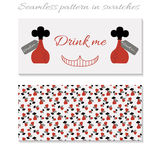 Cards Drink Me Bottle from Wonderland. Vector Illustration for Graphic Projects, Real Life Parties and the Internet Royalty Free Stock Images