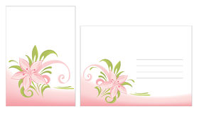 Cards and envelope. Vector illustration - postcard and an envelope with a pink flower royalty free illustration