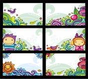 cards färgrikt blom- Royaltyfri Foto