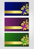 Cards with flower drawing. eps10 Royalty Free Stock Photography
