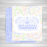 Cards with flower ornaments, typography summer lettering on wooden background. Stock Photos