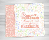 Cards with flower ornaments, typography summer lettering on wooden background. Royalty Free Stock Photo