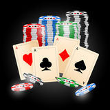 Cards. Four aces and poker chips  illustration with three dimensional suits Stock Photo