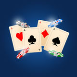 Cards. Four aces and poker chips vector illustration with three dimensional suits Royalty Free Stock Image