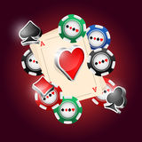 Cards. Four aces and poker chips vector illustration with three dimensional suits Stock Image