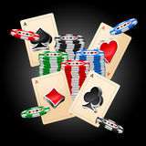 Cards. Four aces and poker chips vector illustration with three dimensional suits Stock Photos