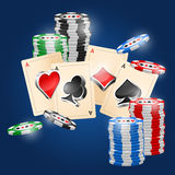 Cards. Four aces and poker chips vector illustration with three dimensional suits Royalty Free Stock Photo