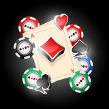 Cards. Four aces and poker chips vector illustration with three dimensional suits Royalty Free Stock Photos