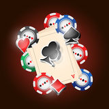 Cards. Four aces and poker chips vector illustration with three dimensional suits Royalty Free Stock Photography