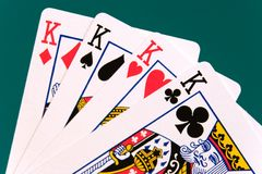 Cards four cards 02 kings.  Stock Photos