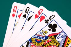 Cards four cards 03 queens.  Royalty Free Stock Photo