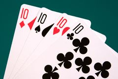 Cards four cards 05 10s.  Royalty Free Stock Images