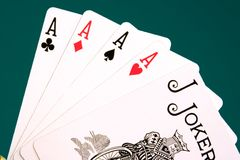 Cards four cards 06 aces joker Stock Image