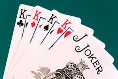 Cards four cards 07 kings joker.  Royalty Free Stock Image
