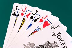 Cards four cards 09 jacks joker Royalty Free Stock Image