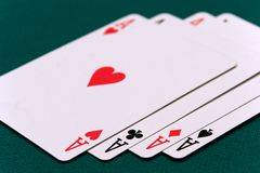 Cards four or two card 01 aces.  Stock Photography