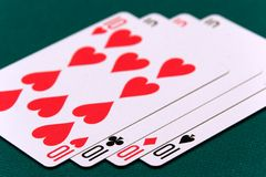 Cards four or two card 05 10s.  Royalty Free Stock Photos