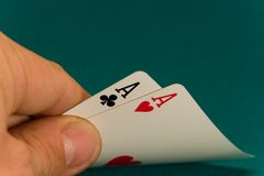 Cards four or two card 06 aces.  Stock Photography