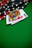 Cards and gambling chips Stock Photo