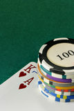 Cards and gambling chips Royalty Free Stock Image