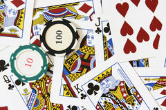 Cards and gambling chips Stock Image