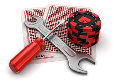 Cards, gambling chips and tools Stock Image