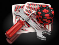 Cards, gambling chips and tools Royalty Free Stock Images