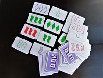 Board game. Card game. Cards for game Set. Board games are the best entertainment for children and adults Stock Photo