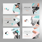 Cards with geometric shapes Stock Images