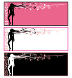 Cards, girl with abstract flowers in hair. Background with silhouette of a woman stock illustration