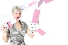 cards girl isolated white Στοκ Εικόνες