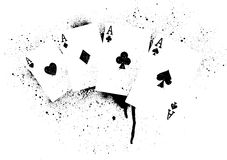 Cards Graffiti. A stencil illustration of a hand of Aces Royalty Free Stock Photos