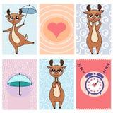 Cards gulliga klistermärkear 1 för hjortar vektor illustrationer
