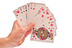 Cards in hand Royalty Free Stock Photos