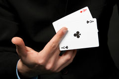 Cards in the hand. Stock Image