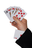 Cards in hand and ace in sleeve Royalty Free Stock Photography