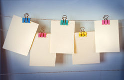 Cards hang on a clothesline Royalty Free Stock Photo