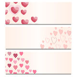 Cards with Hearts. Set of cards with hearts Stock Photo